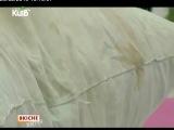 Процесс чистки подушек